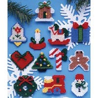 """2"""" 7 Count Set Of 12 - Country Christmas Ornaments Plastic Canvas Kit"""