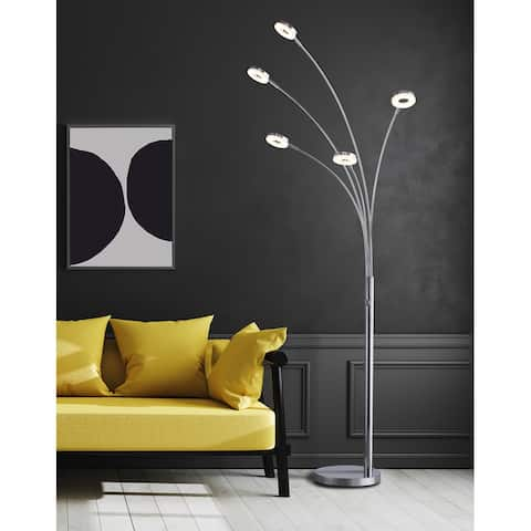 """Super Bright LED 5-Arched Floor Lamp with Touch Dimmer, 73""""H, Chrome - 73"""