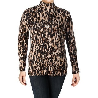 Context Womens Plus Pullover Sweater Leopard Mock Neck