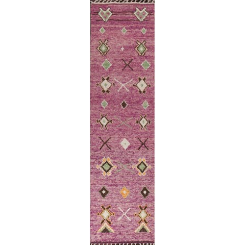 """Tribal Moroccan Oriental Wool Runner Rug Hand-knotted Staircase Carpet - 2'9"""" x 12'9"""""""