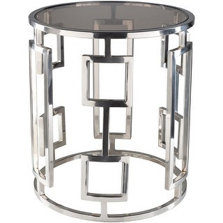 Frantziska Silver Modern Glass 18-inch Side Table