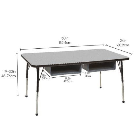 """24"""" x 60"""" Rectangle Book Box Table with Adjustable Ball Glide Legs"""