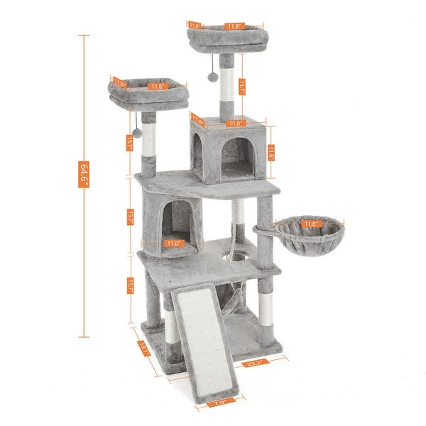 64.6 Inches Cat Tree 6 Levels Cat Tower with Large Scratching Board,2 Cat Condos,Plush Perch and Cozy Hammock