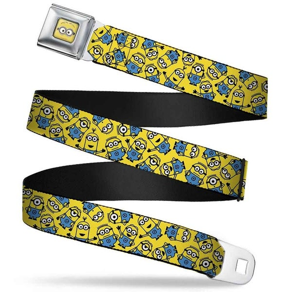Minion Dave Face Full Color Minions Scattered Yellow Webbing Seatbelt Belt Seatbelt Belt