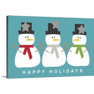 """Three Modern Snowmen"" Canvas Wall Art"