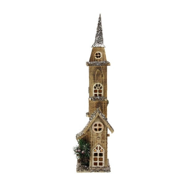 "23.5"" LED Lighted Brown Wooden Church with Tower Christmas Decoration"