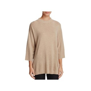 Eileen Fisher Womens Tunic Sweater Wool Mock Neck