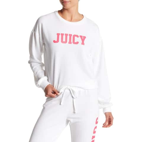Juicy Couture White Pink Womens Size XS Crewneck Logo Sweatshirt