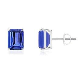 Claw Set Solitaire Emerald Cut Tanzanite Stud Earrings