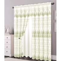 Alexis Embroidered Panel With Attached Valance and Backing, Beige-Sage, 54x84+18 Inches