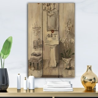 Designart 'French Bathroom Vintage II' Traditional Bathroom Print on Natural Pine Wood - Grey