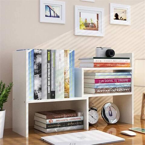 Desktop Bookshelf Adjustable Countertop Bookcase Office Desk Organizer