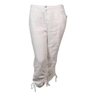 INC International Concepts Women's Linen Ruched Cargo Pants