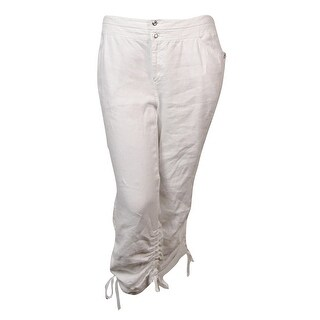 INC International Concepts Women's Linen Ruched Cargo Pants - Bright White