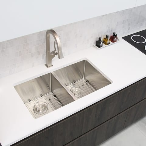 """32""""L x 18""""W Double Basin Undermount Kitchen Sink with Grids and Strainers"""
