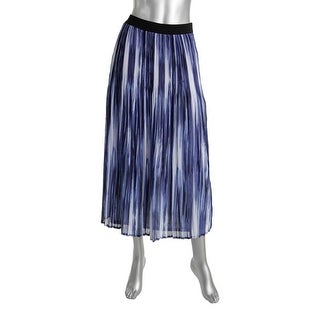 NY Collection Womens Printed Mid Calf Pleated Skirt - S