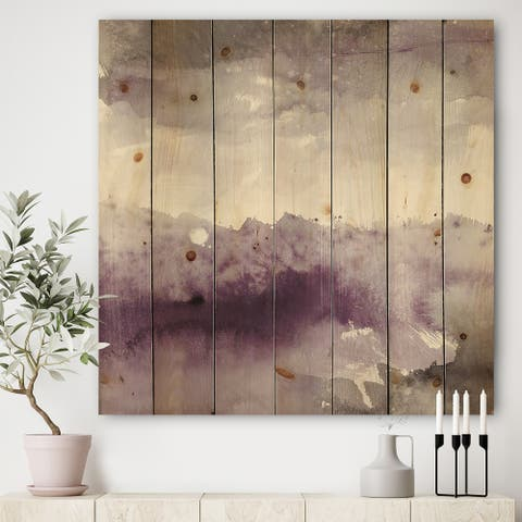 Designart 'Midnight at the Lake II Amethyst and Grey' Shabby Chic Print on Natural Pine Wood