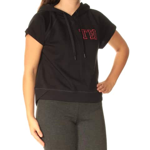 TOMMY HILFIGER Womens Black Hooded Short Sleeve Jewel Neck Active Wear Sweater Size: S
