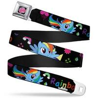 My Little Pony Logo Full Color Black Pink Rainbow Dash W Face Close Up Seatbelt Belt