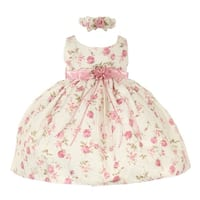 Cinderella Couture Baby Girls Pink Rose Printed Jacquard Occasion Dress 6-24M