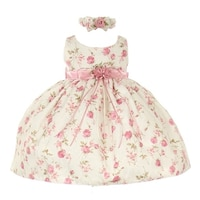 0d303c2bcb0 Cinderella Couture Baby Girls Pink Rose Printed Jacquard Occasion Dress 6- 24M
