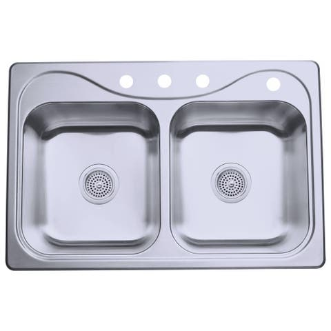 "Sterling 11400-4 Southhaven 33"" Double Basin Drop In Stainless Steel Kitchen Sink with SilentShield - Stainless Steel"