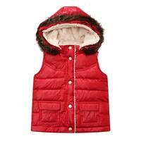 Richie House Baby Girls Red Detachable Hood Padding Vest 18M-24M
