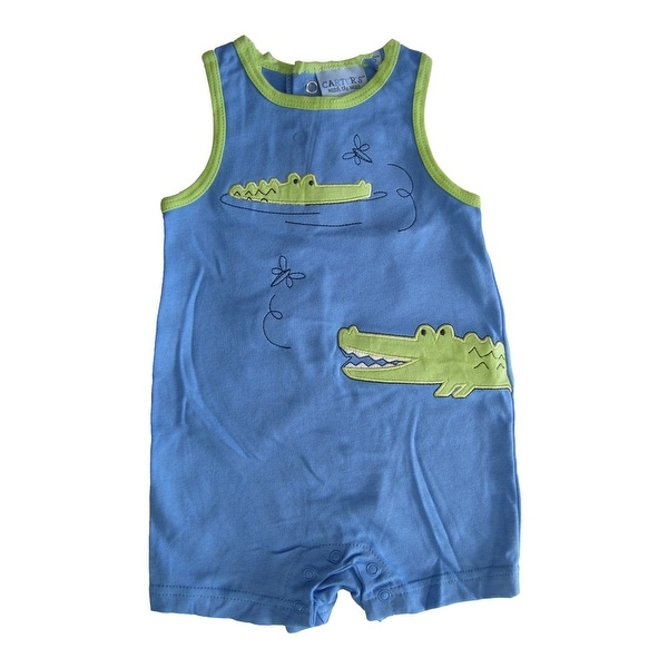Carter's Baby Girls Sky Blue Crocodile Embroidered Sleeveless Bodysuit 12-24M