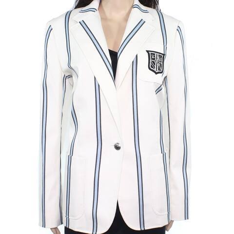 Lauren by Ralph Lauren Women White Ivory Size 8 Crest Striped Blazer