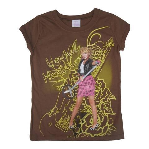 Disney Little Girls Brown Hannah Montana Guitar Printed Cotton T-Shirt 6X