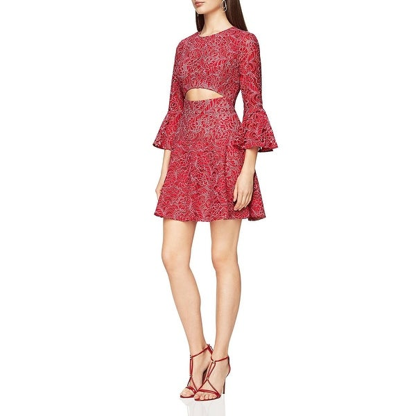 a0cbe1bceb5 Shop BCBG Max Azria Womens Marybeth Party Dress Lace Overlay Cut-Out ...