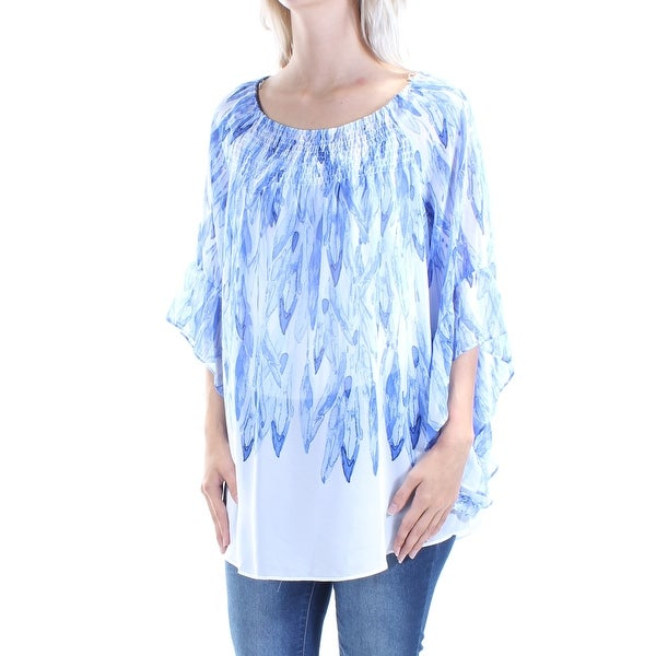 9d7674dcf40 Shop ALFANI Womens Blue Sheer Without Cami Bell Sleeve Jewel Neck Top Size:  S - On Sale - Free Shipping On Orders Over $45 - Overstock - 21329771