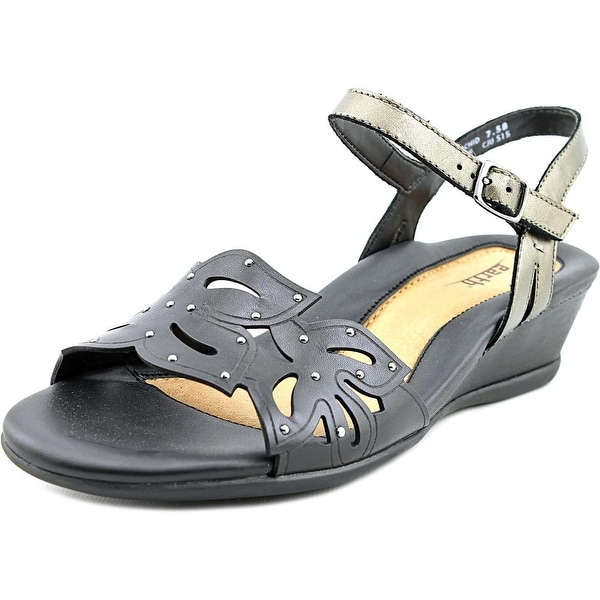 Earth Orchid Women  Open Toe Leather Black Wedge Sandal