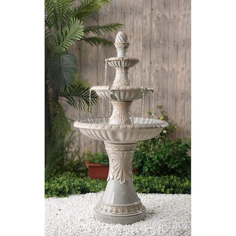 Elsa 47-inch Glazed 3-tiered Outdoor Floor Fountain