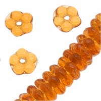 Czech Glass Beads 5mm Daisy Flower Rondelle Amber Topaz (100)
