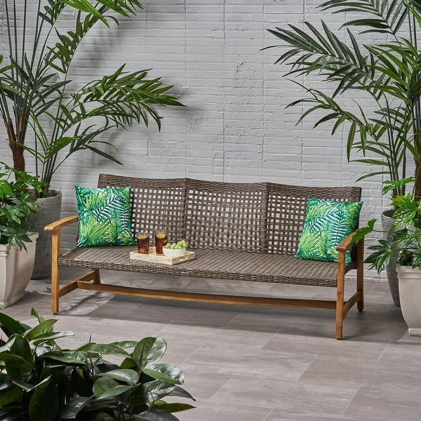 Hampton Outdoor Wood and Wicker Sofa by Christopher Knight Home. Opens flyout.