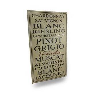 White Wine Varieties Vintage Finish Metal Wall Plaque - brown