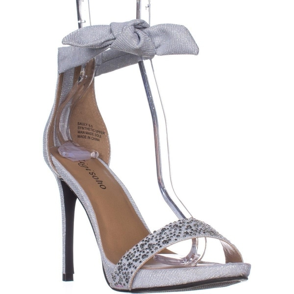 ZIGI Sauly Accent Bow Ankle Strap Sandals, Silver