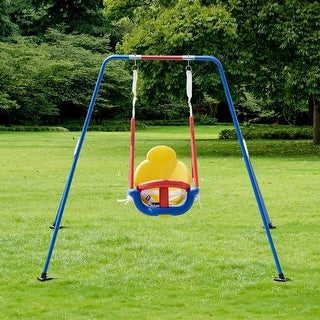 Costway A-Frame Kids 3-in-1 Toddler Swing Set Fun Play Chair Children Backyard Outdoor