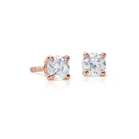 Suzy Levian 14K Rose Gold 0.25 ct. tw. Diamond Stud Earrings - White