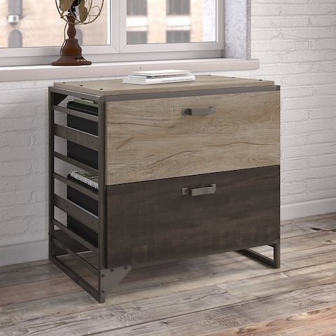 Carbon Loft Plimpton Lateral File Cabinet in Rustic Grey