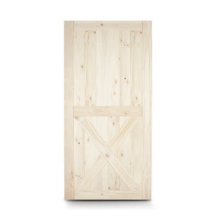 """BELLEZE Barn Wood Lower X Sliding Door Classic Pine Unfinished DIY 42"""" x 84"""" inches"""
