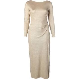 Lauren Ralph Womens Evening Dress Metallic Long Sleeves