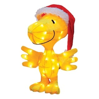 """18"""" Pre-Lit Peanuts Tinsel Santa Claus Woodstock Outdoor Decoration-Clear Lights"""