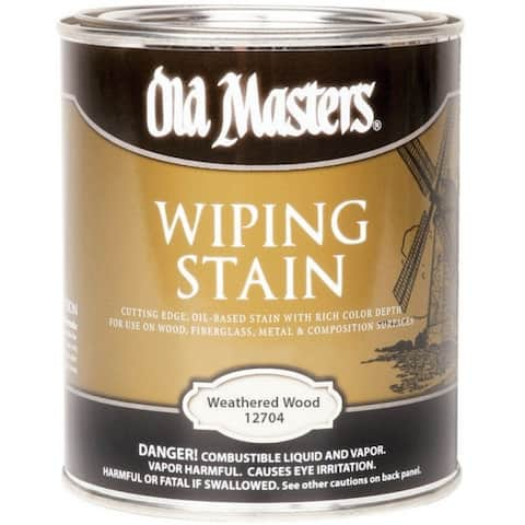 Old Masters 12704 Semi-Transparent Oil-Based Wiping Stain, Weathered Wood, 1 Quart
