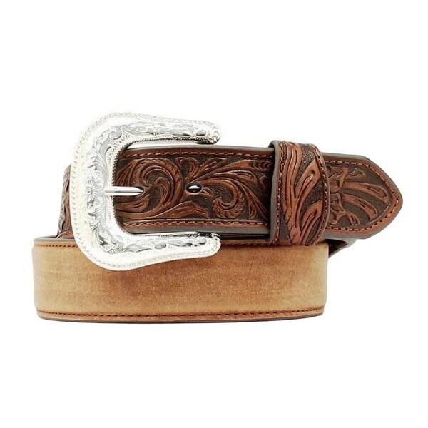 Nocona Western Belt Mens Leather Tooled Overlay Aged Bark