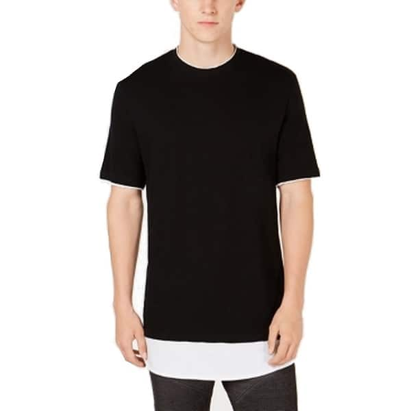 cde31307fd18 Shop INC Deep Black White Mens Size Small S Longer Length Tee Shirt ...