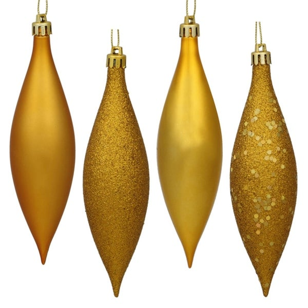 8ct Antique Gold Shatterproof 4-Finish Finial Drop Christmas Ornaments 5.5""