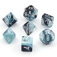 Chessex Gemini Black And Shell With White Polyhedral 7 Dice Set