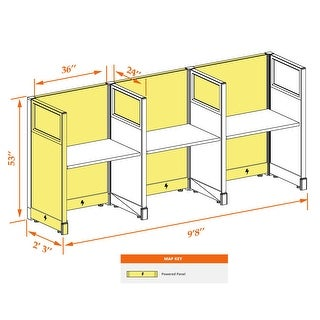 Cubicle Workstations 53H 3pack Inline Powered (2x3 - Walnut Desk Silver Paint - Assembly Required)